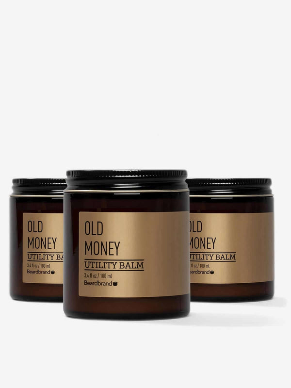 Three jars of Old Money Beardbrand Silver Line Utility Balm.