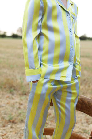 LiTTLE Citrine Stipe Silk Pyjamas