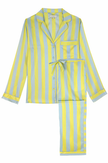 Citrine & Blue Stripe Classic Silk Pyjama Set