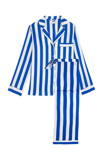 Cobalt Blue & White Stripe Women's Classic Silk Pyjama Set | Silk Pyjama Sets | YOLKE