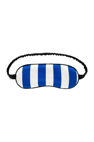 Cobalt Blue & White Stripe Silk Eye Mask | Silk Accessories | YOLKE