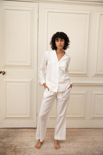 White Jacquard Cotton Pyjama Set