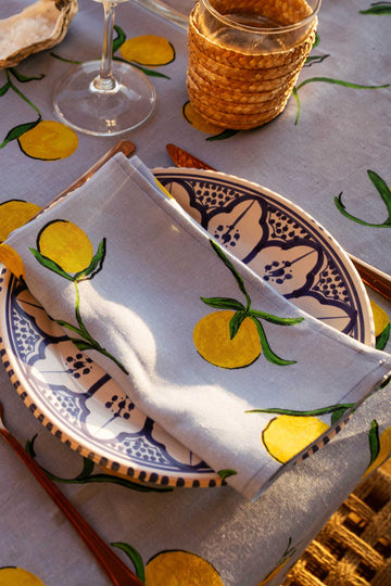 Linen Napkin Lemon Print - Set of 4