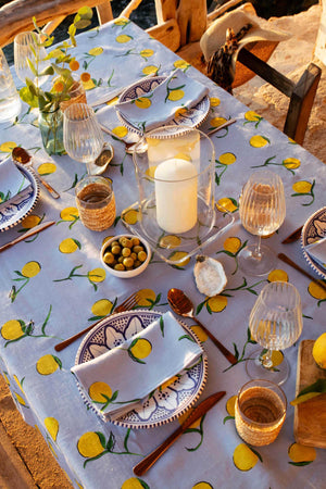 Linen Tablecloth Lemon Print LARGE