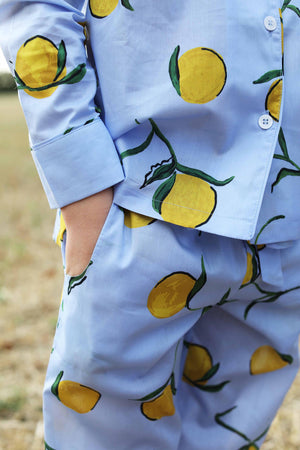 LiTTLE Lemon Print Cotton Pyjamas