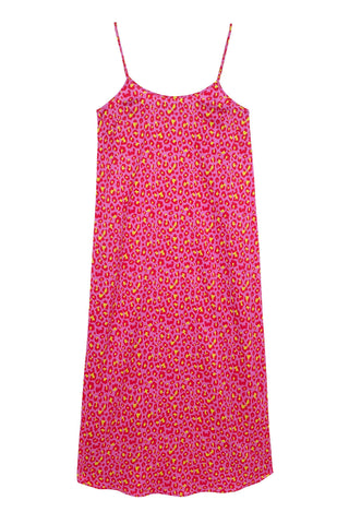 Leopard Bubblegum Juno Slip Dress | Silk Dresses & Daywear | YOLKE