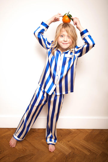 LiTTLE Blue & White Stripe Kids' Silk Pyjamas | Kids' Silk Pyjama Sets & Sleepwear | YOLKE
