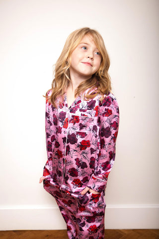 LiTTLE Dakota Plum Kids' Silk Pyjamas | Kids' Silk Pyjama Sets & Sleepwear | YOLKE
