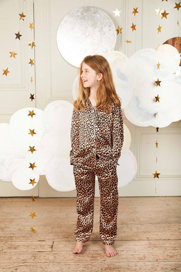 LiTTLE Leopard Print Kids' Silk Pyjamas | Kids' Pyjama Sets | YOLKE