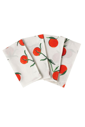 Linen Napkin Orange Print - Set of 4