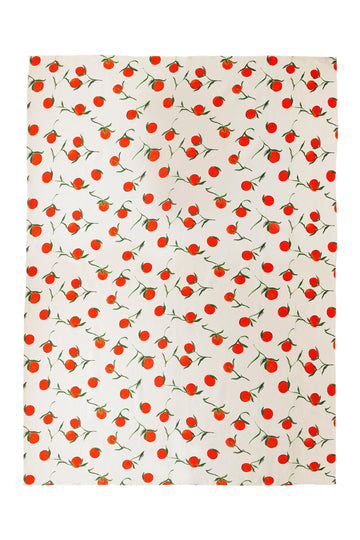 Linen Tablecloth Orange Print LARGE