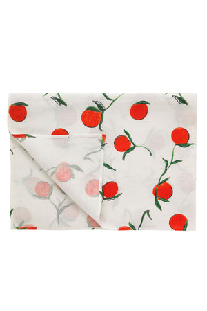 Linen Tablecloth Orange Print