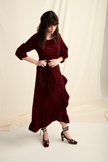 The Calamity Dress in Burgundy Corduroy