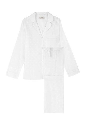 White Jacquard Women's Cotton Pyjama Set | Cotton Pyjama Sets | YOLKE