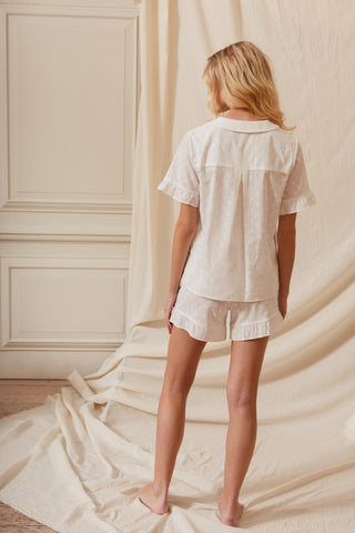 White Jacquard Thebe Short Set | Cotton Daywear | YOLKE