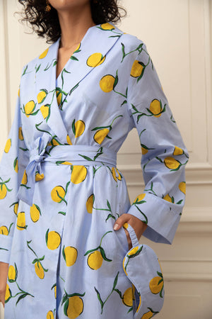 Lemon Print Cotton Dressing Gown