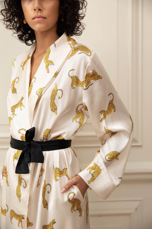 Prowling Leopard Print Silk Dressing Gown
