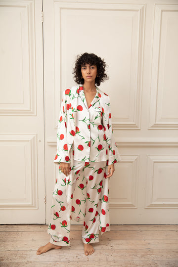 Orange Print Classic Silk Pyjama Set