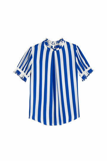 Cobalt Blue & White Stripe Phoebe Blouse