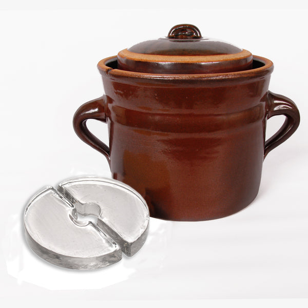 Rustic Fermenting Crock - Brown with Weights, 6L, 8L or 10L