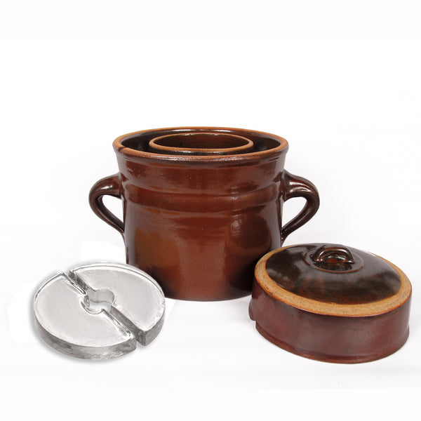 Rustic Fermenting Crock - Brown with Weights, 6L or 10L