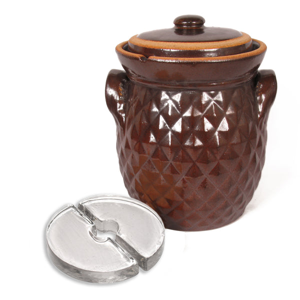Rustic Fermenting Crock - Brown Diamond with Weights, 5L or 10L