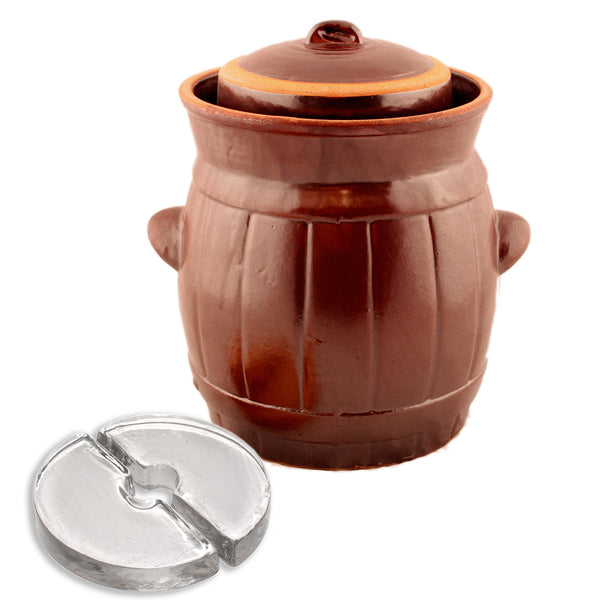 Fermenting Crock - Rustic Brown Barrel with Weights, 5L or 10L