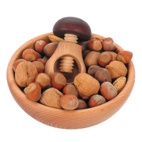 Wood Nutcracker & Bowl Gift Set