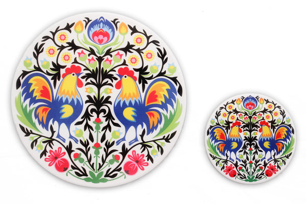 Rooster Polish Folk Art Trivet