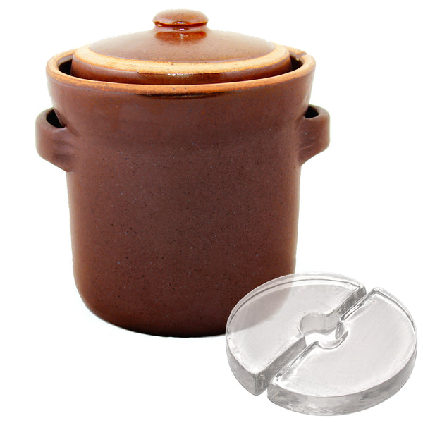 Rustic Fermenting Crock - Brown 3L or 4L with Weights