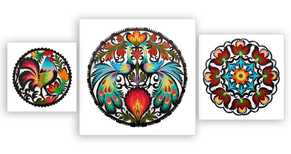 Polish Papercut Wycinanki Folk Art - Floral Medallion 15cm