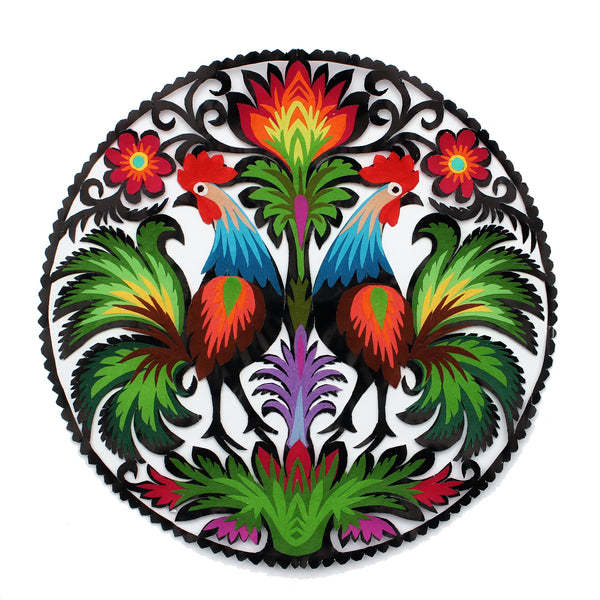 Polish Papercut Wycinanki Folk Art - Peacocks or Rooster 20cm