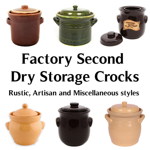 FACTORY SECOND - Dry Storage Crocks, Various styles