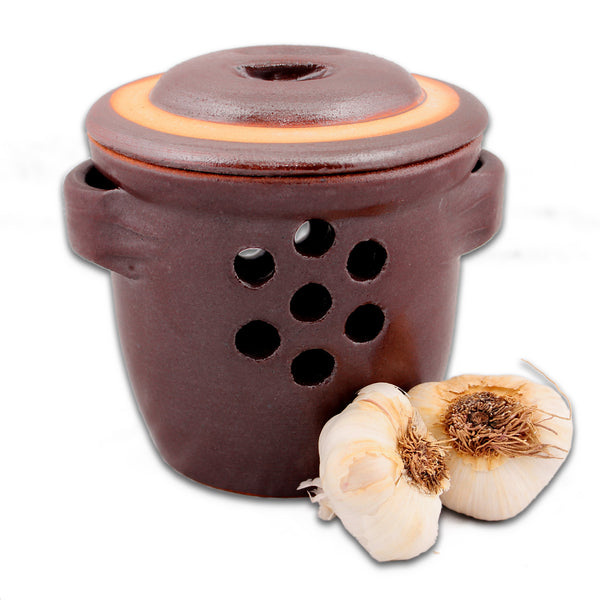 Garlic Keeper Crock, Rustic Brown