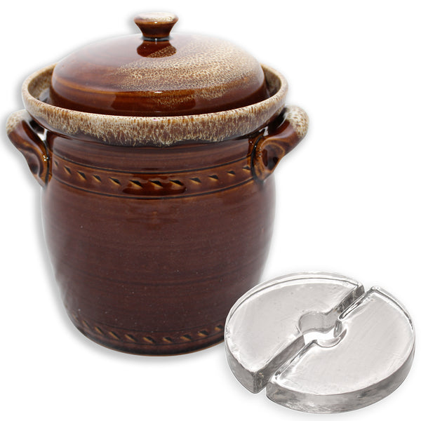 Mountain Fermenting Crock - Brown, 2 or 3 Liter