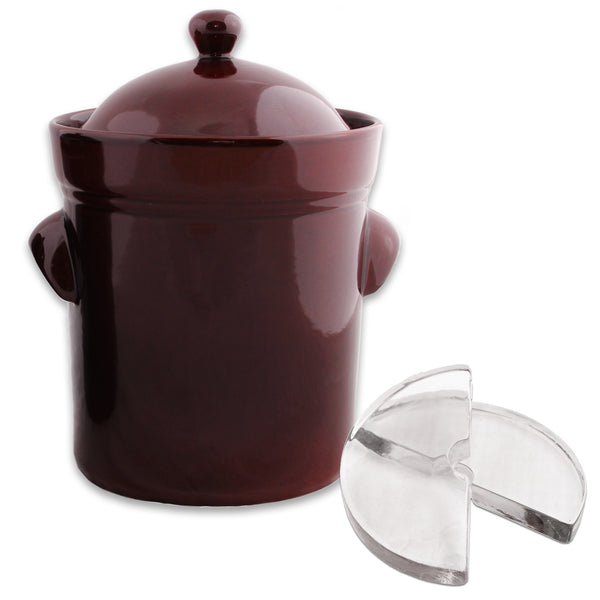 Boleslawiec Fermenting Crock - 15 Liter with Glass Weights