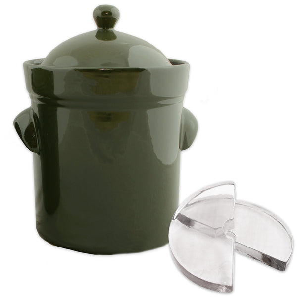 Fermenting Crock, 10 Liter with Weights, Olive Green