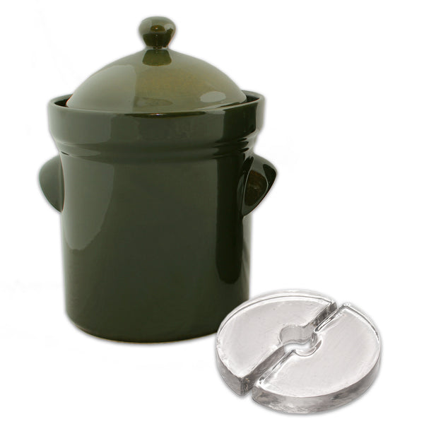 Boleslawiec Fermenting Crock - 5 Liter with Glass Weights, Olive Green