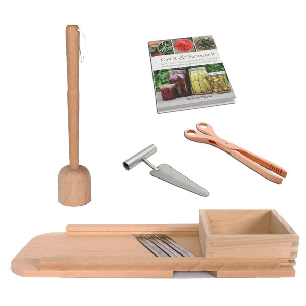 Deluxe Fermenting Tool Kit - Cabbage Shredder, Masher, Tongs, Corer & Book
