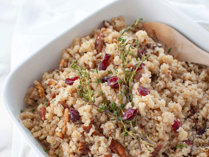Cranberry Pecan Cauliflower Rice Stuffing Recipe