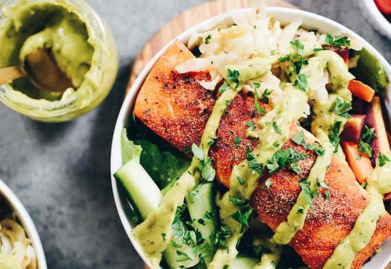 Easy Whole30 Salmon Salad Bowls