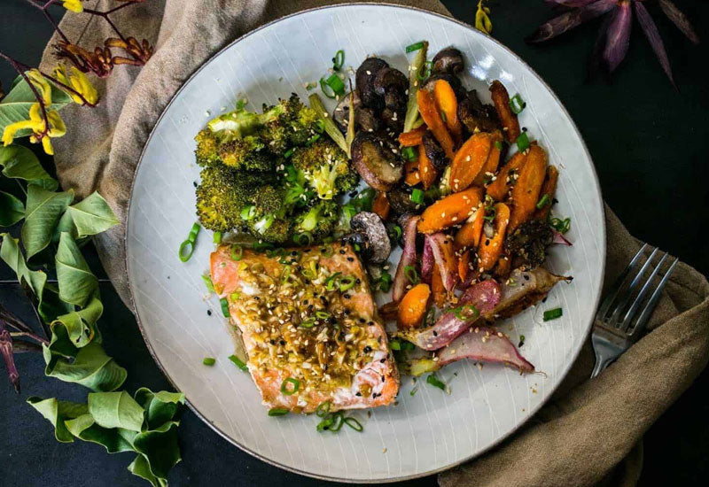 Ginger Glaze Salmon with Rainbow Roasted Veggies