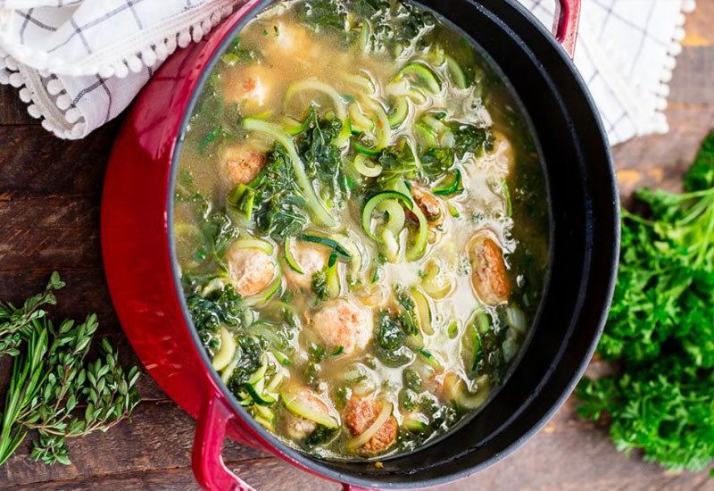 Paleo Turkey Meatball Zoodle Soup Recipe