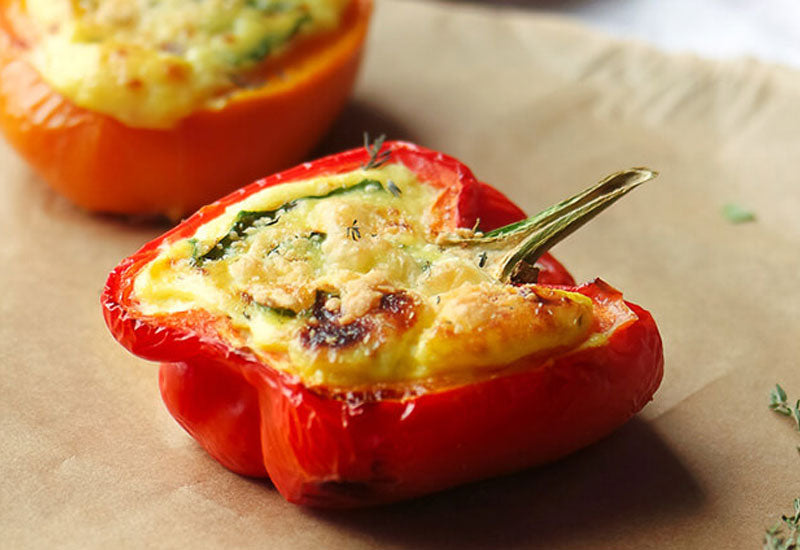 Vegetarian Three Cheese Quiche Stuffed Peppers Recipe