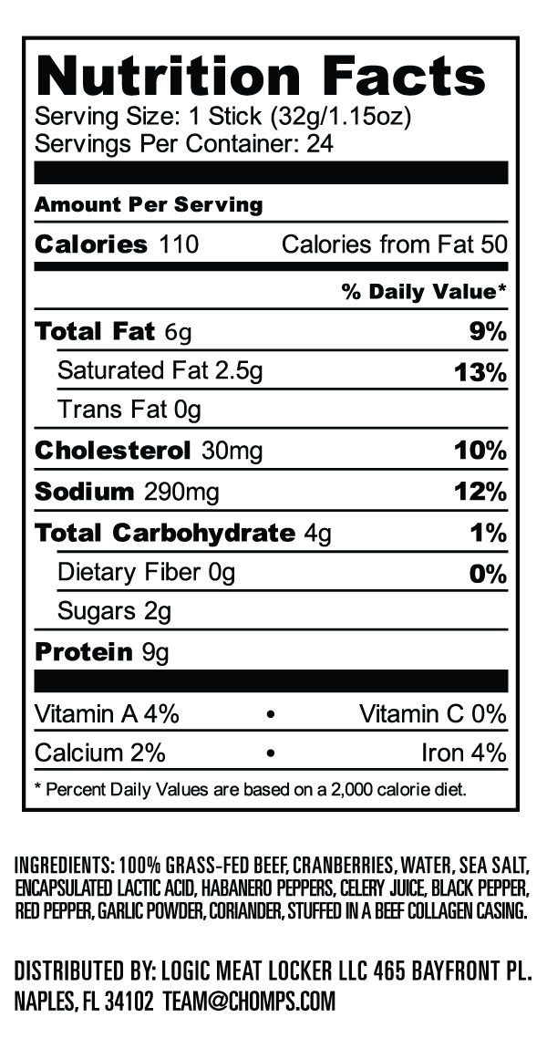 Nutrition Facts for CHOMPS Crankin' Cran Beef Jerky