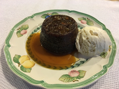 Ginger, Date and Ginger Candied Pecan Pudding with Toffee Sauce