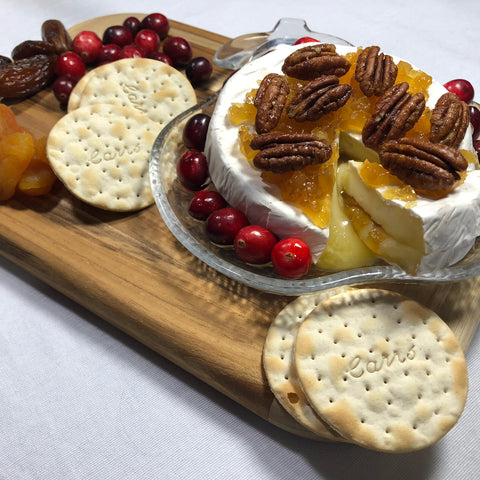 Brie with Ginger Preserve and Ginger Candied Pecans