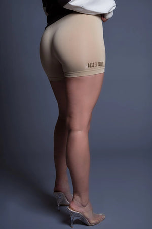 BEIGE N CHOCOLATE MINI MEDI BIKER SHORTS