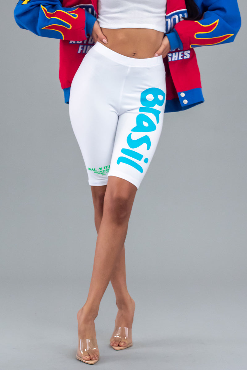 WHITE N BLUE TEAM BRASIL LONG BIKER SHORTS