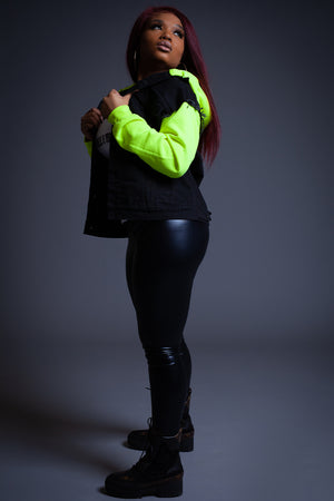 NEON GREEN N BLK DENIM VEST